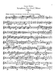 Sinfonie Nr.2 in c-Moll 'Resurrection': Oboen- oder Englischhornstimmen by Gustav Mahler