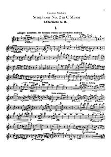 Sinfonie Nr.2 in c-Moll 'Resurrection': Klarinettenstimmen by Gustav Mahler