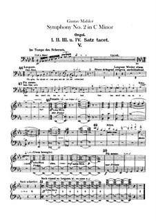 Sinfonie Nr.2 in c-Moll 'Resurrection': Orgelstimme by Gustav Mahler