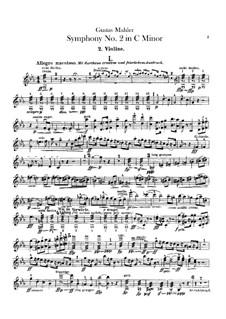 Sinfonie Nr.2 in c-Moll 'Resurrection': Violinstimmen II by Gustav Mahler