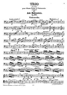 Klaviertrio Nr.5 in c-Moll, Op.108: Cellostimme by Anton Rubinstein
