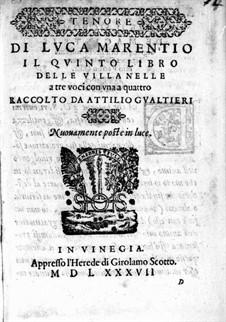 Villanellen: Heft V – Tenorstimme by Luca Marenzio