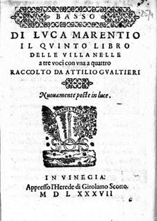 Villanellen: Heft V – Bassstimme by Luca Marenzio