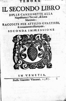 Canzonette alla Napolitana: Book II – Tenor Part by Luca Marenzio
