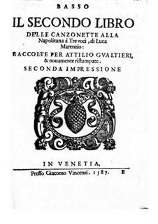 Canzonette alla Napolitana: Book II – Bass Part by Luca Marenzio
