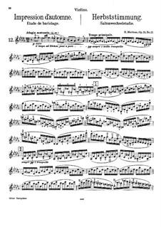 Vingt-quatre Caprices d'execution transcendante for violin and piano, Op.25: Nr.12 Herbststimmung – Partitur by Henri Marteau