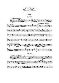 Krönungsmesse Nr.15 in C-Dur, K.317: Basso Continuo Stimme by Wolfgang Amadeus Mozart