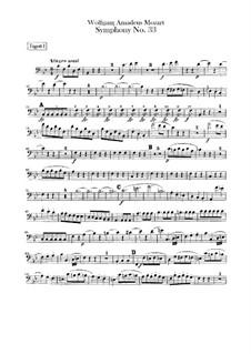Sinfonie Nr.33 in B-Dur, K.319: Fagottstimme by Wolfgang Amadeus Mozart