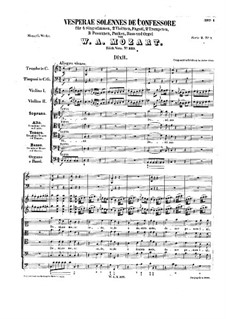 Vesperae solennes de confessore, K.339: Vollpartitur by Wolfgang Amadeus Mozart