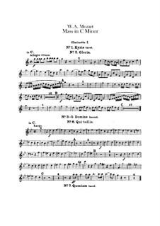 Grosse Messe in c-Moll, K.427, K.417a: Klarinettenstimmen by Wolfgang Amadeus Mozart