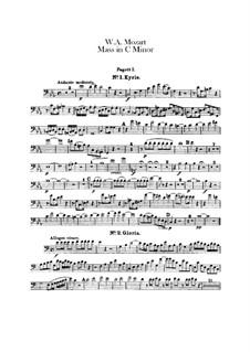 Grosse Messe in c-Moll, K.427, K.417a: Fagottstimme by Wolfgang Amadeus Mozart