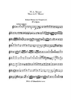 Grosse Messe in c-Moll, K.427, K.417a: Diskantposaune- oder Trompete in C Stimme by Wolfgang Amadeus Mozart