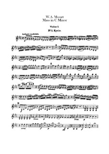 Grosse Messe in c-Moll, K.427, K.417a: Violinstimme I by Wolfgang Amadeus Mozart