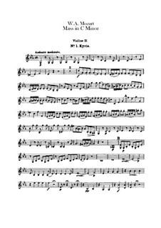 Grosse Messe in c-Moll, K.427, K.417a: Violinstimme II by Wolfgang Amadeus Mozart