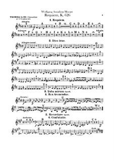 Vollständiger Teile: Trompetestimme in Es by Wolfgang Amadeus Mozart