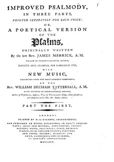 Improved Psalmody in Three Parts, No.1-41: High voice part by John Stafford Smith, Philip Hayes, Samuel Webbe, John Wall Callcott, William de Chair Tattersall