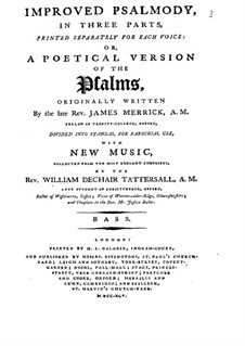 Improved Psalmody in Three Parts, No.1-41: Bassstimme by John Stafford Smith, Philip Hayes, Samuel Webbe, John Wall Callcott, William de Chair Tattersall