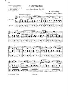 Suite Nr.1 in d-Moll, TH 31 Op.43: Nr.3 Intermezzo, für Orgel by Pjotr Tschaikowski