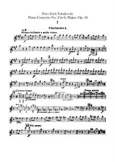 Konzert für Klavier und Orchester Nr.2 in G-Dur, TH 60 Op.44: Klarinettenstimmen by Pjotr Tschaikowski