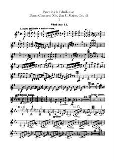 Konzert für Klavier und Orchester Nr.2 in G-Dur, TH 60 Op.44: Violinstimmen II by Pjotr Tschaikowski