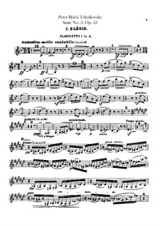 Suite Nr.3 in G-Dur, TH 33 Op.55: Klarinettenstimmen by Pjotr Tschaikowski