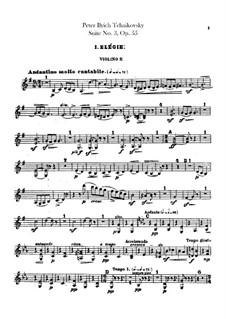 Suite Nr.3 in G-Dur, TH 33 Op.55: Violinstimme II by Pjotr Tschaikowski