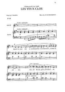Les yeux clos: In E Minor by Jules Massenet