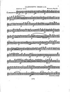 Konzert für Klavier und Orchester Nr.2 in Es-Dur, Op.25: Klarinettenstimme I by Franz Xaver Wolfgang Mozart