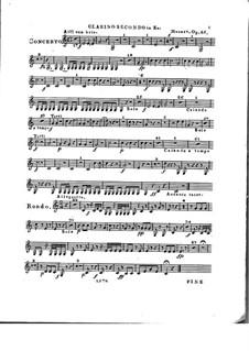Konzert für Klavier und Orchester Nr.2 in Es-Dur, Op.25: Clarinostimme II by Franz Xaver Wolfgang Mozart