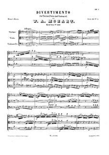Divertissement in Es-Dur, K.563: Vollpartitur by Wolfgang Amadeus Mozart