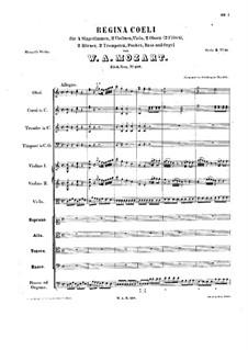 Regina Coeli, K.108: Vollpartitur by Wolfgang Amadeus Mozart