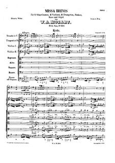 Messe Nr.9 in C-Dur (Missa brevis No.5) 'Spatzen', K.220: Vollpartitur by Wolfgang Amadeus Mozart