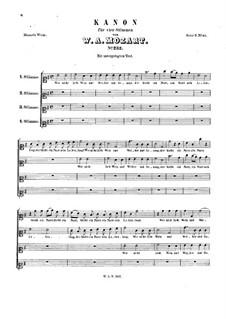 Lieber Freistädtler, lieber Gaulimauli, K.232: Lieber Freistädtler, lieber Gaulimauli by Wolfgang Amadeus Mozart