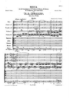 Messe Nr.13 in C-Dur 'Missa Longa', K.262: Messe Nr.13 in C-Dur 'Missa Longa' by Wolfgang Amadeus Mozart