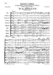 Regina Coeli, K.276: For soloists, choir and orchestra by Wolfgang Amadeus Mozart