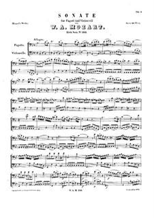 Sonate für Fagott und Cello in B-Dur, K.292: Partitur für zwei Interpreten by Wolfgang Amadeus Mozart
