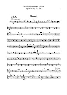 Sinfonie Nr.31 in D-Dur 'Pariser', K.297: Paukenstimme by Wolfgang Amadeus Mozart