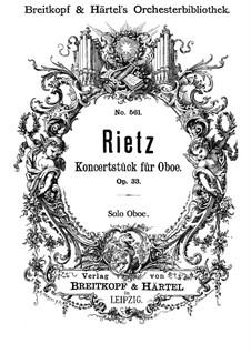 Konzertstück für Oboe und Orchester, Op.33: Oboe Solo Stimme by Julius Rietz