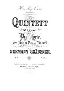 Klavierquintett Nr.2 in c-Moll, Op.19: Vollpartitur, Stimmen by Hermann Grädener
