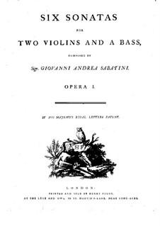 Sechs Sonaten für zwei Violinen und Basso Continuo, Op.1: Basso Continuo Stimme by Giovanni Andrea Sabatini