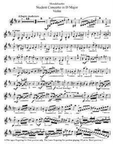 Studentenkonzert in D-Dur, Op.213: Für Violine und Klavier – Violinstimme by Arnold Mendelssohn
