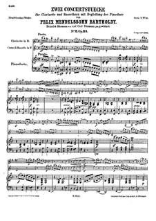 Konzertstück für Klarinette, Bassetthorn und Klavier Nr.2, Op.114: Vollpartitur by Felix Mendelssohn-Bartholdy