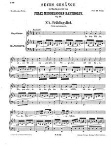 Sechs Lieder, Op.19a: Vollständiger Satz by Felix Mendelssohn-Bartholdy