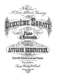 Sonate für Cello und Klavier Nr.2 in G-Dur, Op.39: Partitur by Anton Rubinstein