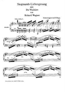 Die Walküre, WWV 86b: Siegmunds Liebeslied, für Klavier (Version von H. Rupp) by Richard Wagner