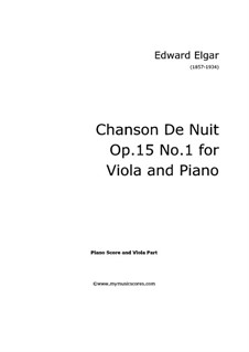 Zwei Stücke, Op.15: No.1 Chanson de nuit, for viola and piano, solo part by Edward Elgar