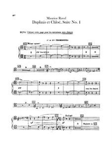 Daphnis und Chloe. Suite Nr.1, M.57a: Posaune- und Tubastimmen (Stimme zum Ersatz des Chors) by Maurice Ravel