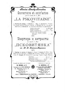 Das Mädchen von Pskow: Ouvertüre und Entr'actes by Nikolai Rimsky-Korsakov