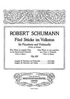 Fünf Stücke im Volkston, Op.102: Solostimme by Robert Schumann