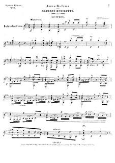 Anna Bolena: Ausgewählte Melodien, für Gitarre by Gaetano Donizetti